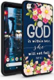 Case for Pixel 2 Christian Words - Topgraph [Soft TPU Slim Fit Black with Design] Cover Compatible with Google Pixel 2 Protective Cover Psalm Theme Floral