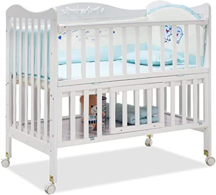 ALBB Wooden Baby cot Carved European style with storage 110 101cm Safety Wooden Barrier Teething Rails