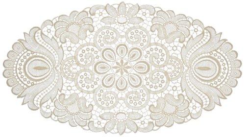 Plauener Spitze by Modespitze 67952 Centrino in Pizzo, Design Plauen, Colore Panna, Cotone, Beige, 25 cm x 45 cm Oval