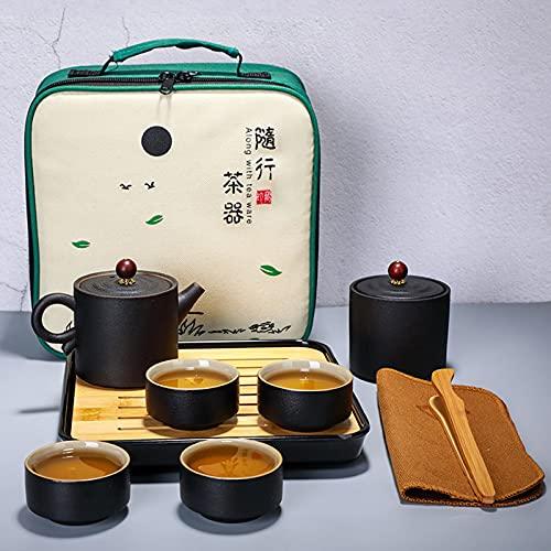 MERCB Juego de té Kung Fu de cerámica para viajes en el hogar, portátil, una olla, cuatro tazas de té