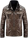 Winodfrw Men's PU Leather Zip Up Jacket Stand Collar Slim Lightweight Outwear Coat