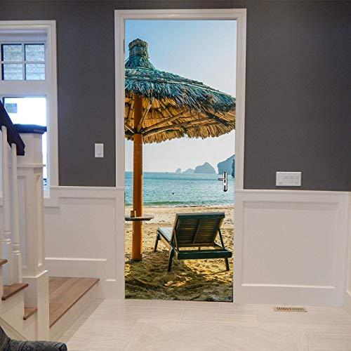 ZEISIX Pegatinas De Puerta 3D Murales De Pared 90x210cm Mecedora de Playa Azul Marino Papel Tapiz...