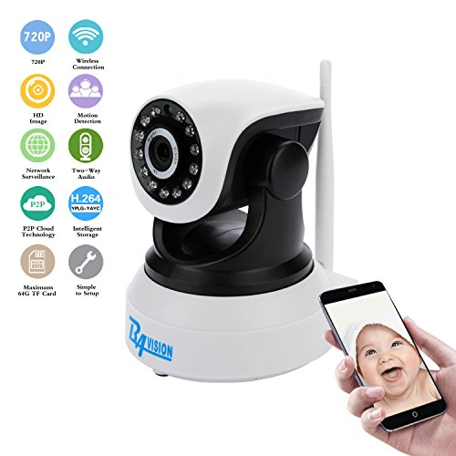 BAVISION WiFi IP Camera Wireless Home Security Trailer Cameras Dog/Baby Monitor Video Nanny Cam Night Vision Plug/Play Pan/Tilt with Two-Way Audio