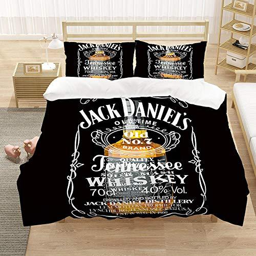 Ropa de cama con patrón de whisky impresa en 3D, funda nórdica y funda de almohada suaves y cómodas, para amigos a los que les gusta beber, decorar dormitorios, apartamentos,-D_135x200cm (2 piezas)