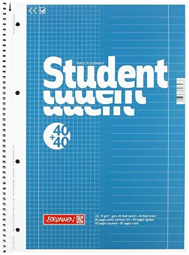 Brunnen 1067974 Notizblock / Collegeblock Student Duo (A4 liniert (Lineatur 27, Lineatur 28) 70 g/m² 40 Blatt liniert, 40 Blatt kariert) 5 Stück