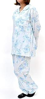 パジャマ レディース 綿100% 長袖 長ズボン 2重ガーゼ 日本製 花柄 かわいい おしゃれ ルームウェア 婦人 春 夏 秋 上下セット