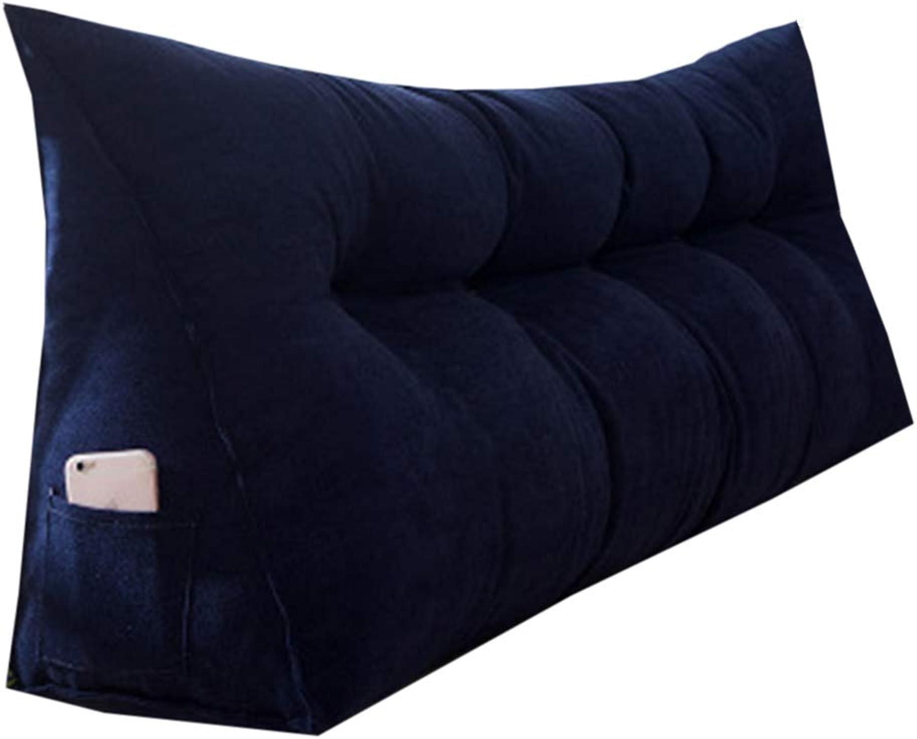 JYW-kaodian Tête De Lit Coussin Wedge PilFaible Housses, Coussin Triangle de Chevet Chambre Double Canapé Sac Souple Amovible Disponible en 3 Couleurs, 7 Tailles,bleu,80  23  45cm