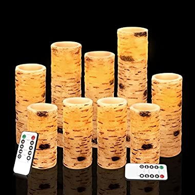 Vinkor Flameless Candles Battery Operated Candles Birch Bark Effect 4  5  6  7  8  9  Set of 9 Real Wax Pillar LED Candles with 10-Key Remote Control 2/4/6/8 Hours Timer