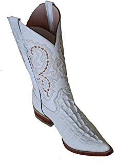 Dona Michi Cowboy Boot's Crocodile Back Cut White Cowboy Handmade Luxury Boots