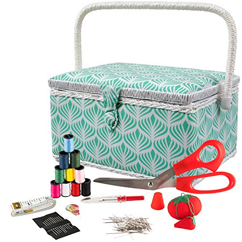 SINGER 07229 Sewing Basket with Sewing Kit, Needles, Thread, Pins, Scissors, and Notions, Boho Fan