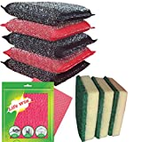 Life Win Combo 5 Steel Sponge Srub, 2 Microfiber Cleaning Cloth and 3 Sponge Green Pad Srubber