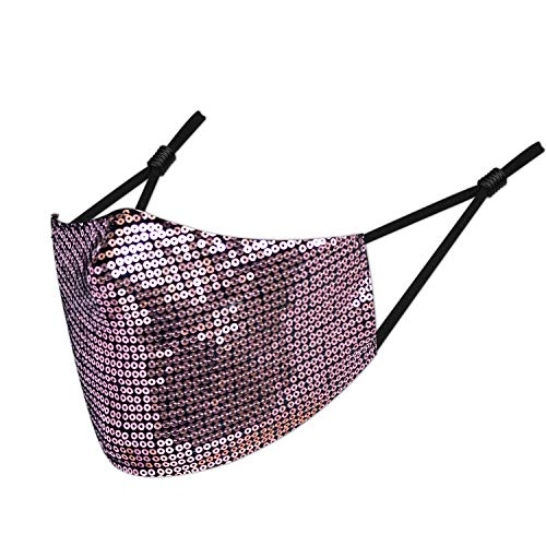 Protective Face Mask Washable Fashion Glitter Sequins for Women, Party Indoor Outdoor Activity Reusable Covering Breathable Skin-Friendly Fabric Adjustable Elastic Earloops Comfortable Fit (Rose Gold)
