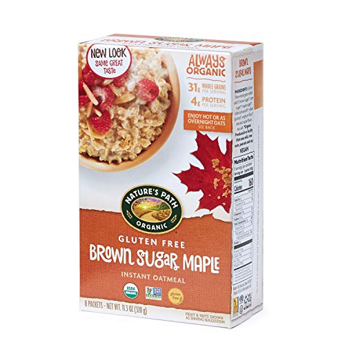 Nature's Path Organic Gluten Free Instant Oatmeal, Brown Sugar Maple, 48 Packets (Pack of 6, 11.3 Oz Boxes)