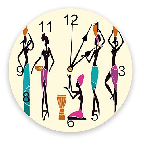 NIGU Reloj de pared moderno simple sala de estar reloj de pared mujer africana botella cultura cafetería arte reloj estudio dormitorio diseño moderno mute reloj de pared
