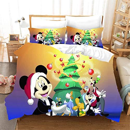 Goplnma - Ropa de cama de Mickey & Minni, Disney Mickey Mouse, Minnie Mouse, ropa de cama con funda de almohada, impresión digital 3D, microfibra, multicolor (200 × 200 cm, 37)