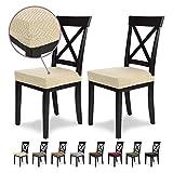 SCHEFFLER-Home Luna 2 Fundas para Asiento de sillas, Estirable Cubiertas, Chenilla Funda con Banda elástica, Crema