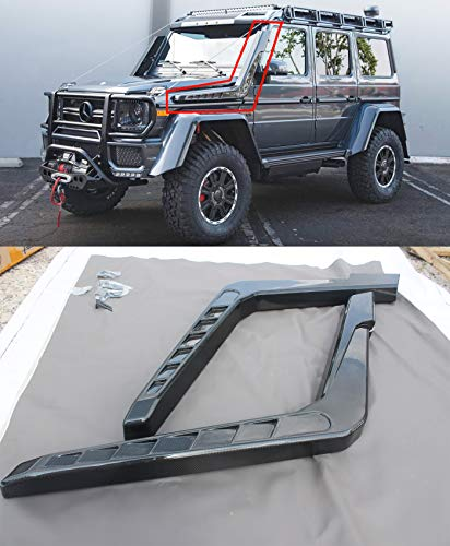BRABUSAdventure4x4² style – Carbon Fiber – Snorkel set of 2 pcs – Raised Air Intake Snorkels – for Mercedes-Benz W463 G-Class G500 G55 G63 AMG + 2 Carbon Fiber Badges Included