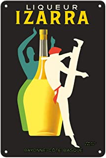 Pacifica Island Art 8in x 12in Vintage Tin Sign - Liqueur Izarra - Bayonne, Cote Basque (Basque Country) - Gerriko Dancer - Vintage Advertising Poster by Paul Colin c.1948