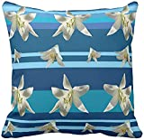 BONRI Funda de Almohada de cojín de Tiro Cuadrado de Boda Floral Azul rústico con Cremallera Oculta para decoración del hogar 18 x 18 Pulgadas Colorful-Multi-17