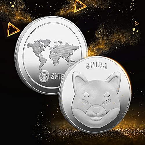 Monedas SHIB Dogecoin de 1 oz - Conmemorativa de plata chapada en oro - Recuerdo de regalo de moneda de criptomoneda Doge - Moneda coleccionable de edición limitada 2021 con estuche protector