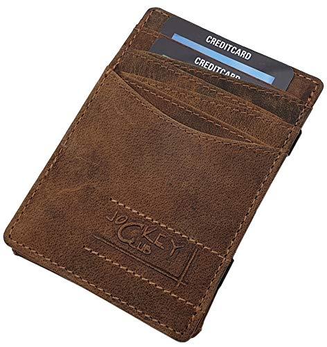 Echt Büffel-Vollleder Magic Wallet Kreditkartenetui und Geldbörse / Geldbeutel / Portemonnaie / Portmonaise / Geldtasche / Portmonee in Einem mit RFID & NFC Schutz in Cognac