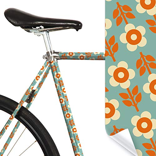 MOOXIBIKE Bini Tuerkis Mini Fahrradfolie mit Muster für Rennrad, MTB, Trekkingrad, Fixie, Hollandrad, Citybike, Scooter, Rollator für circa 13 cm Rahmenumfang