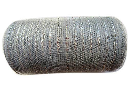 6 inch x 30 feet(10 Yards)-YYCRAFT Metallic Deco Poly Mesh Ribbon(Silver)