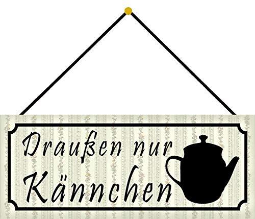 Blechschild 27x10cm gewölbt mit Kordel Draußen nur Kännchen Kaffee Cafe Deko Geschenk Schild