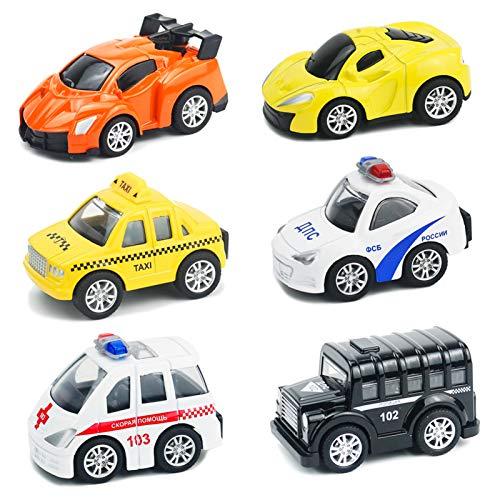 Buyger 6 PCS Mini Spielzeugautos Pull Back Metall Auto Spielzeug Geschenk für Jungen Kinder ab 3 Jahr im Koffer Tortendekoration