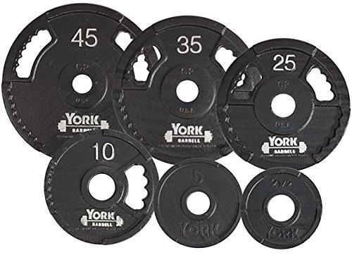 York Barbell 7425 G2 Olympic Dual Grip Thin Line Cast Iron Plate44; Black - 45 lbs