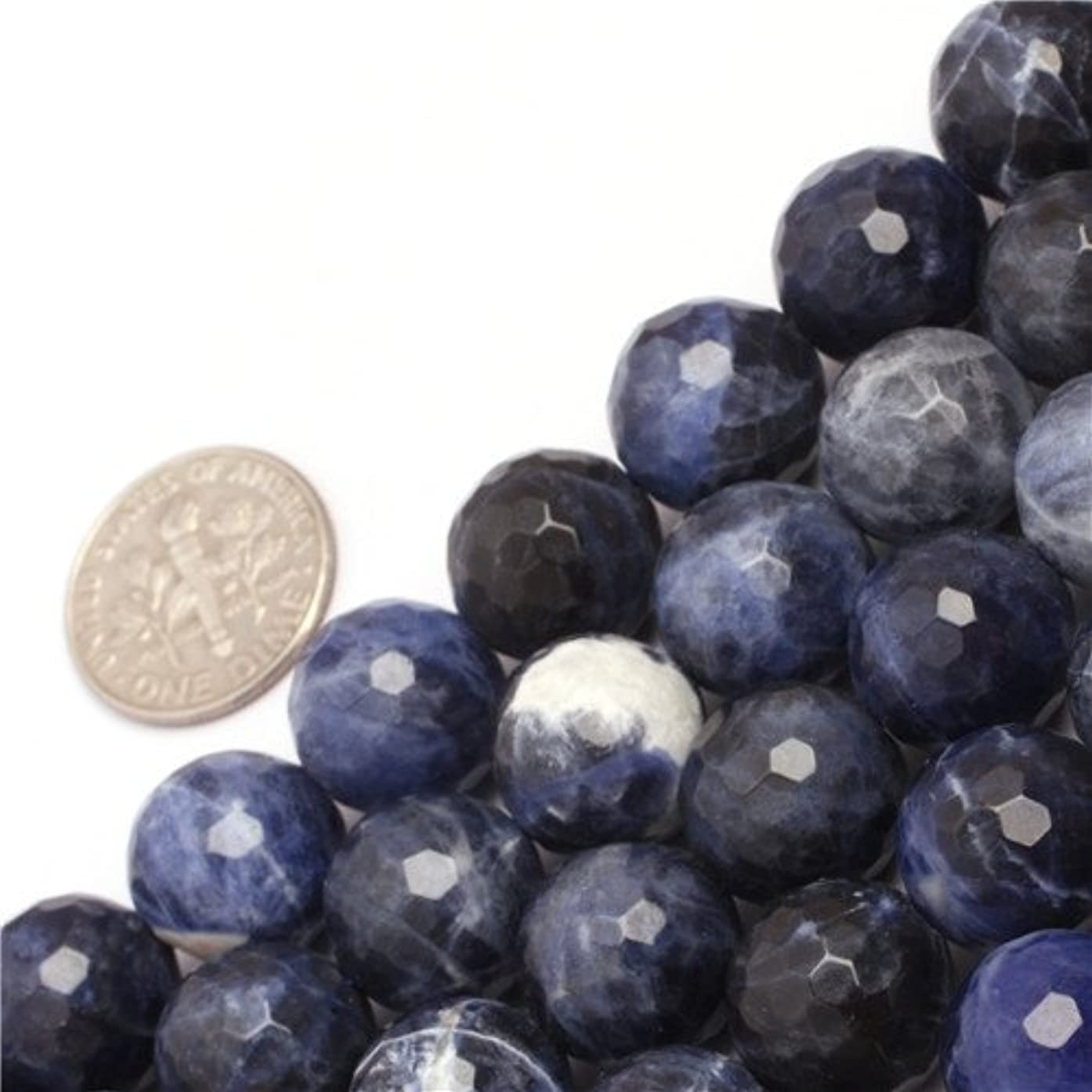 GEM-inside Natural 12mm Round Facted Sodalite Gemstone Loose Beads for Jewelry Making Jewelry Beading Supplies for Women