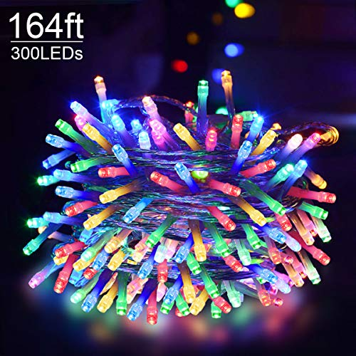 Abkshine 164Ft 300 LED Plug in Christmas Lights Multicolored, 8 Modes Colored Christmas String Lights, UL Listed 29V Plug in Christmas Decoration Fairy Lights for Room Xmas Tree Wedding Party Patio