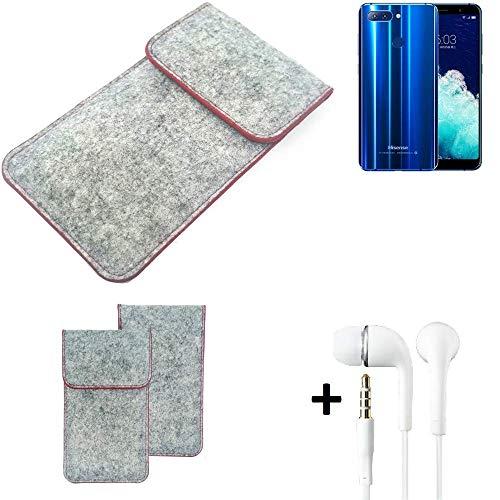K-S-Trade Handy Schutz Hülle Für Hisense Infinity H11 Pro Schutzhülle Handyhülle Filztasche Pouch Tasche Hülle Sleeve Filzhülle Hellgrau Roter Rand + Kopfhörer