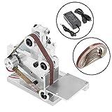 Huanyu Mini Bandschleifmaschine DIY Bandschleifer Micro Desktop Schleifmaschine Elektrische Poliermaschine DC12-24V   7 Stufe Geschwindigkeitskontrolle   mit 10 Stücke Schleifbänder (330 *...