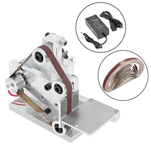 Huanyu Mini Bandschleifmaschine DIY Bandschleifer Micro Desktop Schleifmaschine Elektrische Poliermaschine DC12-24V | 7 Stufe Geschwindigkeitskontrolle | mit 10 Stücke Schleifbänder (330 * 30mm)