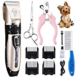 RUIJIA Dog Clippers,Dog Grooming Kit USB Rechargeable Pet Clippers,Professional Dog Trimmer Electric Hair Clippers for Thick Coats Dogs Cats Pets
