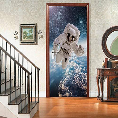 GenericBrands Türtapeten Selbstklebend 3D Astronaut Türbilder Türposter Selbstklebend 3D Aufkleber Der Tür 3D Fototapete Tapete 77x200cm PVC Wasserdicht Abnehmbare Wandgemälde Dekoration Aufkleber