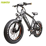 NAKTO 20 inch 300W Fat Tire Electric Bike for Adults Snow/Mountain/Beach Ebike with Shimano 6 Speed...