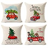 """KACOPOL Christmas Decorations Throw Pillow Covers Christmas Tree and Red Car Cotton Linen Home Decorative Throw Pillow Case Cushion Cover for Sofa Couch 18"""" x 18"""" Set of 4 (Christmas Truck-4 Pack)"""