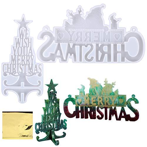 BHGT 2pz Stampi Silicone per Resina 5pz Carta Stagnola Oro Natalizi Addobbi Oggetti Decorazioni Natalizie Fai da Te Albero di Natale Merry Christmas