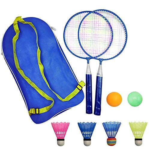 AIKESIWAY Badminton Racket for Children 1 Pair, Nylon Alloy Durable Professional Racquet Set for Children Indoor/Outdoor Sport Game(Including 4 Badminton and 2 Table Tennis) (Blue)