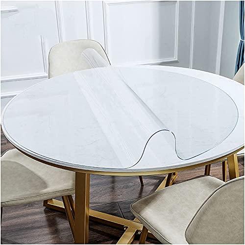 Mantel de plástico de Vinilo, Mantel de Cristal Transparente, Protector de Mesa de PVC Impermeable, Cubierta de Mesa Duradera de 3 mm de Grosor, Utilizado en Cocina, Oficina, Comedor, 110 cm