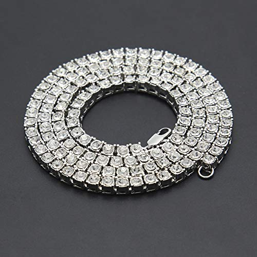 Fashion Gold Silver Color Hiphop Chain Necklace Luxury CZ Iced Out Cuban Rhinestone Tennis Hip Hop Necklace For Men Jewelry
