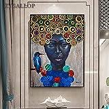 Mural decorativo Cuadro de lienzo de mujer negra con pájaro, arte de pared de África, pintura al óle...