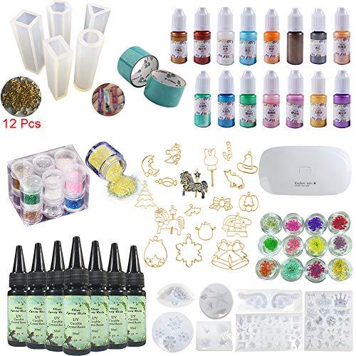 Joligel Resina epossidica UV + Pigmenti liquidi perlescenti + 17 mascherine apribili + 12 stampi + 100 Occhielli + 12 Brillantini + 12 Fiori secchi + Lampada, Orecchini Pendenti creazioni Gioielli