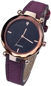 Women Watches Faux Leather Band Luxury Quartz Watches Girls Ladies Wristwatch-Purple