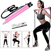 ABsuper Portable Pilates Bar Kit with Resistance Band Yoga Pilates Stick Yoga Exercise Bar with Foot Loop for Yoga,Stretch,Sculpt,Twisting,Sit-Up Bar Resistance Band (Pink)
