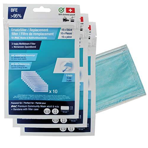 P.A.C. 10er Pack Filter Mundschutz und Stoffmasken, Ersatzfilter Premium Community Maske, Filtereinsatz Atemschutzmaske