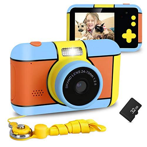XDDIAS Kinderkamera, Wiederaufladbar Kamera für Kinder DigitalKamera mit 32GB SD Karte und 2,4'' Bildschirm, 16 MP 1080p HD Digital Camcorder Spielzeug Geschenk für Maedchen Junge (Orange)