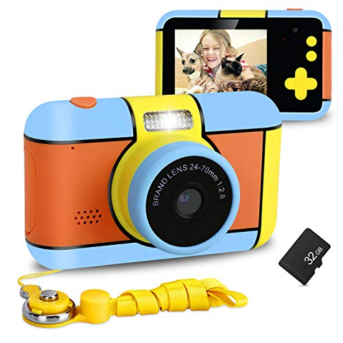 XDDIAS Kinderkamera, Wiederaufladbar Kamera für Kinder DigitalKamera mit 32GB SD Karte und 2,4'' Bildschirm, 16 MP 1080p HD Digital Camcorder Spielzeug Geschenk für Maedchen Junge